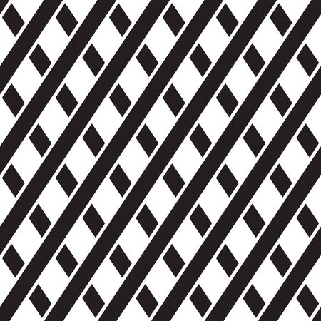 Seamless geometric pattern with intersect stripes, fabric print, black and white vector illustration Illustration