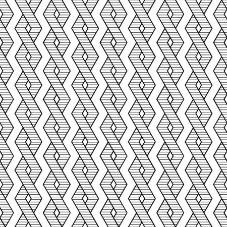 Seamless pattern of intersecting bands, seamleess ropes, black and white linear teture, vector illustration