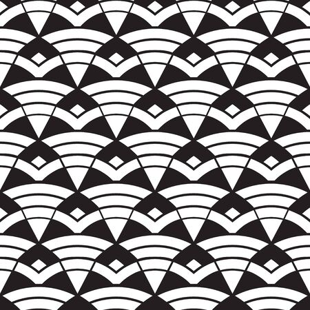 Abstract seamless pattern with waves. Black and white geometric ornament. Seamless overlay texture. Vector illustration. Иллюстрация