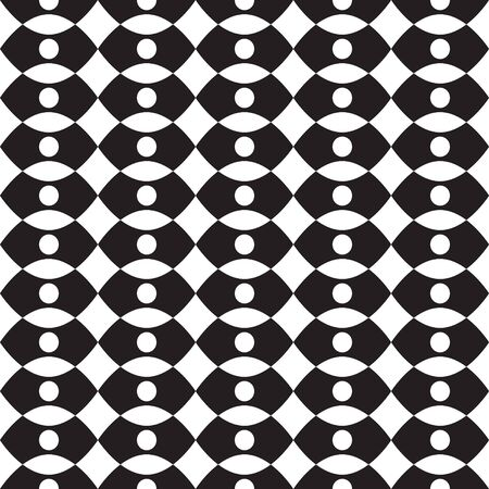 Geometric, geo, seamless pattern with  dots, ogee seamless print, black and white vector illustration. Illustration