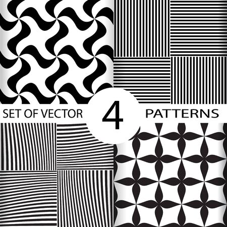 Set of geometric seamless patterns, black and white geo fabric print with stripes, whirligig, cross forms, seamless overlay texture, vector illustration.