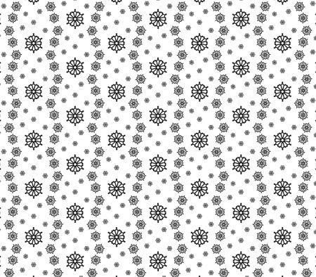 Seamless ornament. Black and white graphics. Large and small snowflakes mixed together.