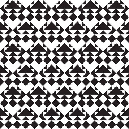 Geometric seamless pattern, seamless triangles and diamonds pattern, geo background in black and white, vector illustration.