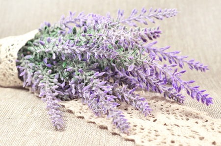 linen fabric: Lavender branch in lace on linen fabric