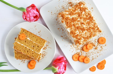 wortel taart dessert bovenaanzicht Stockfoto
