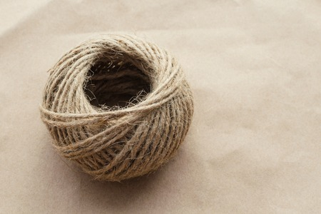 natural material rope closeup on craft paper background