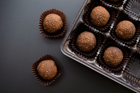 chocolate petit four sweets in wrapper