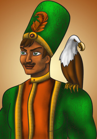 sits: Overseas Prince in a green coat with a feather in the hat. On his shoulder sits an eagle