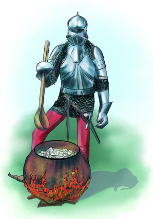 Camp life knight. cooking on the fire. spoon and armor