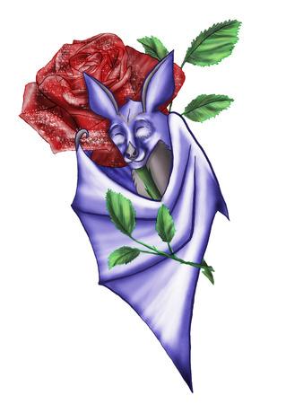 Paarse vleermuis vleugels koestert een rode roos