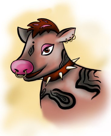 Cool brown Cow with piercings