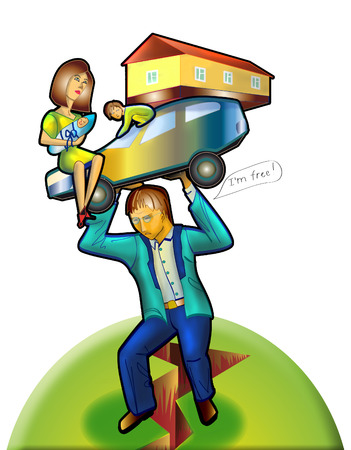 Severe family life of men. financial instability. a car. house. children. wife. breakage. Stock Photo