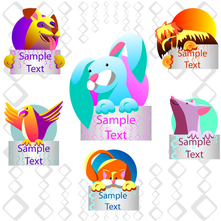 cat and mouse: Pets with banners. It can be used as icons. Shown dog, parrot, cat, mouse, rabbit. Illustration