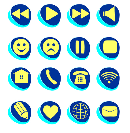reproducing: Symbols connection, e-mail, play, pause, phone, communication set. Simple Internet button beauty shape. Vector illustration for web design. A set of yellow and blue symbol on white background Illustration