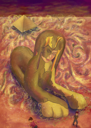 resuscitate: Sphinx comes alive. And the stone on it cracks.