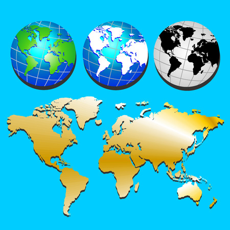 Planet Earth. Three color options Globe and golden map of continents on blue  background. Vector set