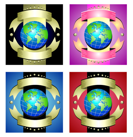 Earth on a background of decorative golden ribbons and color fills. Vector set of different color illustrations
