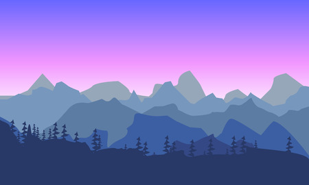 burgundy: Beautiful mountain morninglandscape. Silhouette of a forest on the  of purple sky. Illustration