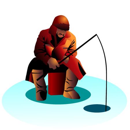 Winter fishing on the ice. Illustration