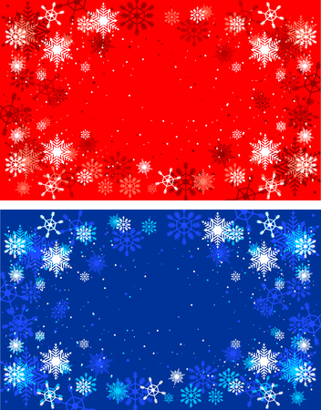 Winter red and blue backgrounds. Christmas background with snowflakes.