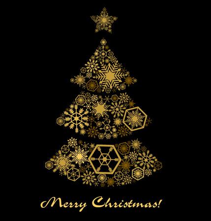 resplandor: Postal con un árbol de Navidad. Estrellas de oro sobre un negro