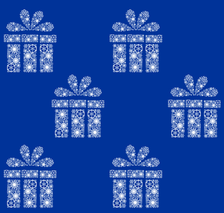 Christmas pattern. White presents on blue background