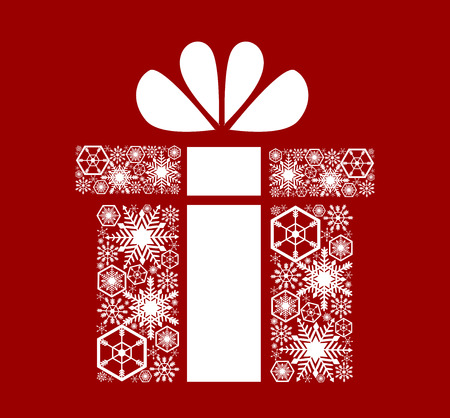Christmas, New Years gift. White snowflakes on a red background