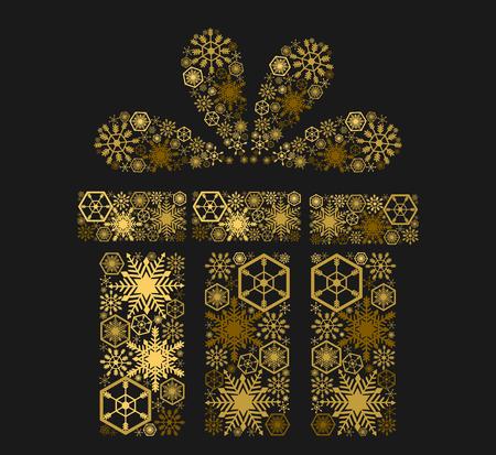 Golden shining gift on dark background. Vector illustration Çizim