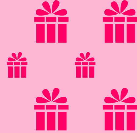 Pink gift pattern on a light pink background Çizim