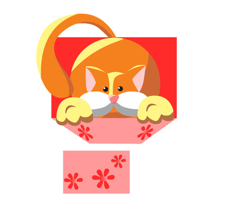 Fluffy kitten in a box. Surprise on holiday. Illustration