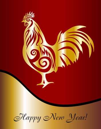 Year of the rooster. Postcard with a cock in the new year. Rooster on a red background. Illustration