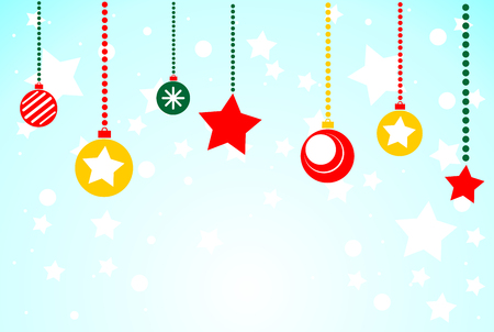 Christmas blue background with Christmas toys. Flat illustration.