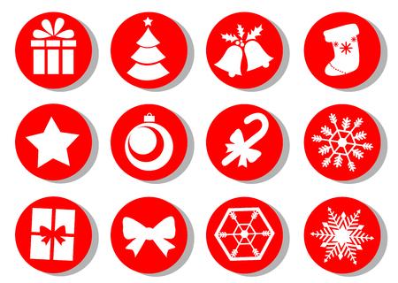 Christmas icons. Vector set of Christmas attributes. Illustration