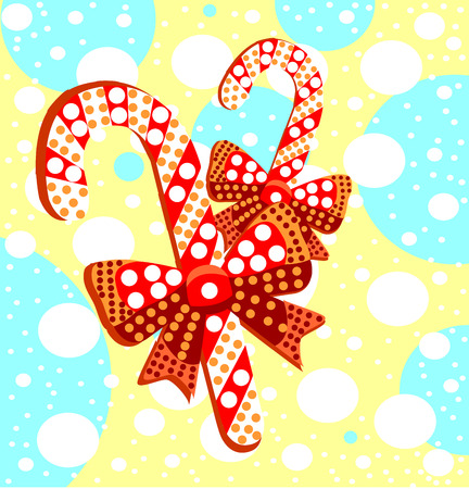 Lollipops with gift bows. Beautiful striped caramel candies with a pattern.