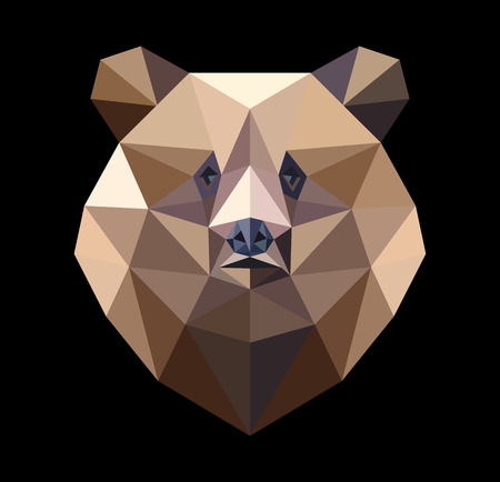 Brown bear in the style of the polygon. Fashion illustration of the trend in style on a black background.