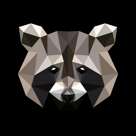 Raccoon in a polygon style. Fashion illustration of the trend in style on a black background.