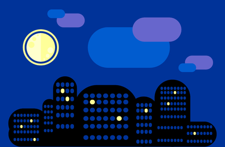 City landscape. Night city under the moon. Some  are lit. The city . Insomnia