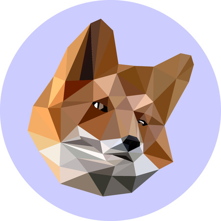 Fox in a polygon style. Fashion illustration of the trend in style on a blue background. Icon, illustration for prints Çizim
