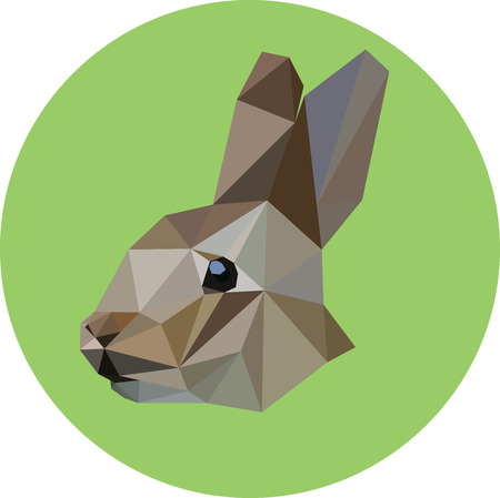 Rabbit in the style of the polygon. Fashion illustration of the trend in style on a green background. Icon, illustration for prints