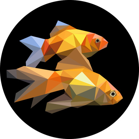 Two fishes in the aquarium polygon style. Fashion illustration of the trend in style on a black background. Marine goldfish