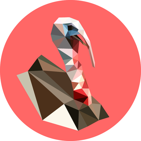 Turkey in a polygon style. Fashion illustration of the trend in style on a pink background. Farm animals. Portrait