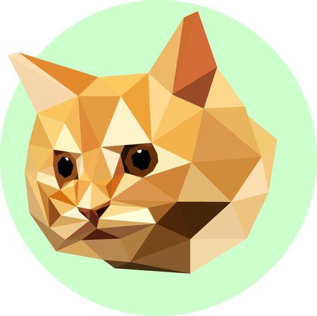 Cat in the style of the polygon. Fashion illustration of the trend in style on a green background. Farm animals. Portrait of red-haired kitten.