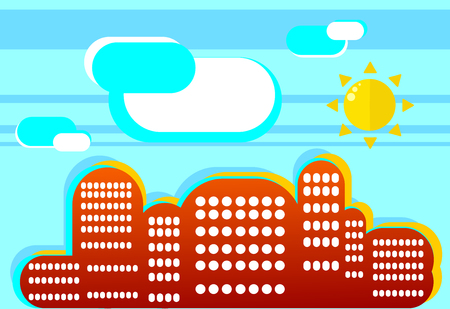 Positive summer cityscape in flat style. A simple illustration of a beautiful fashion in contrasting colors