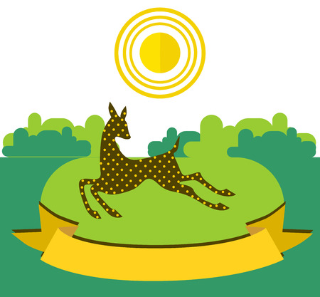 Fawn running on sunny meadow on forest background. Illustration decorated with a yellow ribbon in the foregroundBeautiful illustration in flat style.