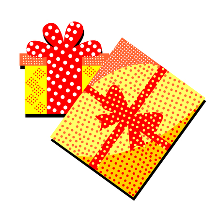 Gift box with surprise and patterns on a white background.Merry Christmas illustration with many details. Illustration