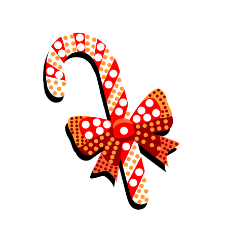 Caramel candy with bow and patterns on a white background.Merry Christmas illustration with many details. Ilustração