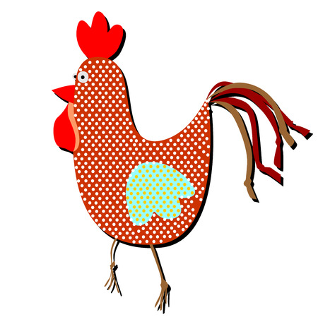 Patterned cock and hen on a white background. Funny illustration of a simple holiday flat in trendy style.