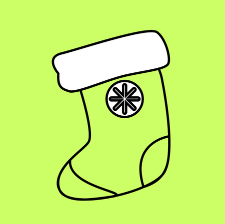 Simple icon with the image of a black sock circuit for gifts on a green background. Fashion illustration in a flat style.