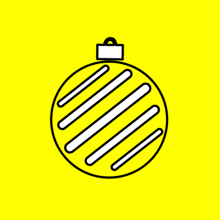 Simple icon with the image of black Christmas ball contour on a yellow background. Fashion illustration in a flat style.