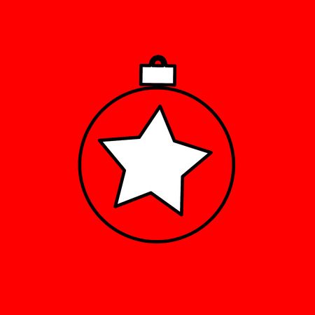industry trends: Simple icon with the image of a black contour Christmas ball on a red background. Fashion illustration in a flat style.